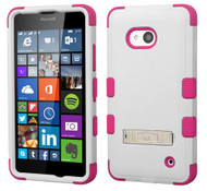 Microsoft Lumia 640 MYBAT Natural Cream White/Hot Pink TUFF Hybrid Phone Protector Cover (with Stand)
