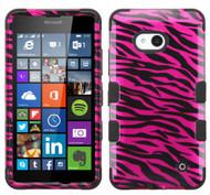 Microsoft Lumia 640 MYBAT Zebra Skin Hot Pink/Black (2D Silver)/Black TUFF Hybrid Phone Protector Cover