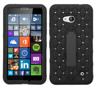 Microsoft Lumia 640 ASMYNA Black/Black Symbiosis Stand Protector Cover (with Diamonds)