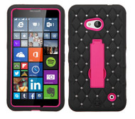 Microsoft Lumia 640 ASMYNA Hot Pink/Black Symbiosis Stand Protector Cover (with Diamonds)