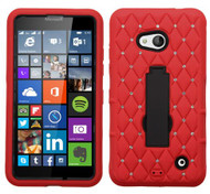 Microsoft Lumia 640 ASMYNA Black/Red Symbiosis Stand Protector Cover (with Diamonds)