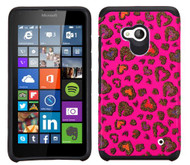 Microsoft Lumia 640 ASMYNA Colorful Glittering Leopard Skin(Hot Pink)/Black Advanced Armor Protector Cover