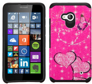 Microsoft Lumia 640 ASMYNA Glittering Butterfly/Heart(Hot Pink)/Black Advanced Armor Protector Cover