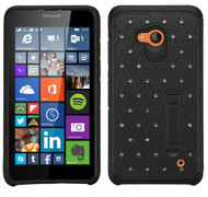 Microsoft Lumia 640 ASMYNA Black/Black Luxurious Lattice Elite Dazzling Stand Hybrid Protector Cover with Diamonds