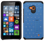 Microsoft Lumia 640 ASMYNA Blue/Black Luxurious Lattice Elite Dazzling Stand Hybrid Protector Cover with Diamonds