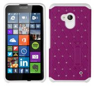 Microsoft Lumia 640 ASMYNA Hot Pink/White Luxurious Lattice Elite Dazzling Stand Hybrid Protector Cover with Diamonds