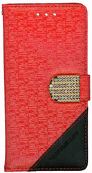 Samsung Galaxy S7 Design Wallet With Bling Red