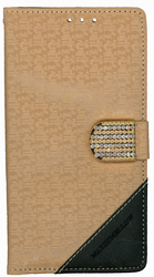 LG Stylo Design Wallet With Bling Light Brown