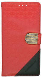 LG Stylo Design Wallet With Bling Red
