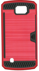 LG K4/Spree Slim Dura Case Metal Finish With Card Holder Red