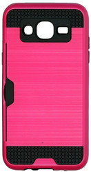 Samsung Galaxy J5 Slim Dura Case Metal Finish With Card Holder Pink
