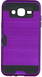 Samsung Galaxy J5 Slim Dura Case Metal Finish With Card Holder Purple