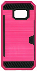 Samsung Galaxy S7 Slim Dura Case Metal Finish With Card Holder Pink