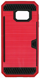 Samsung Galaxy S7 Slim Dura Case Metal Finish With Card Holder Red