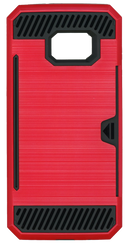 Samsung Galaxy S7 Edge Slim Dura Case Metal Finish With Card Holder Red