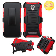 ZTE Obsidian ASMYNA Black/Red Advanced Armor Stand Protector Cover (With Black Holster)