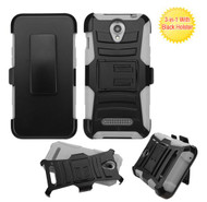 ZTE Obsidian ASMYNA Black/Gray Advanced Armor Stand Protector Cover (With Black Holster)