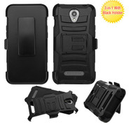 ZTE Obsidian ASMYNA Black/Black Advanced Armor Stand Protector Cover (With Black Holster)