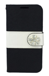 Motorola E2 LTE CDMA MM Flower Wallet Black