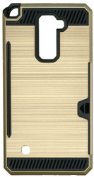 LG Stylo 2 PLUS  Slim Dura Case Metal Finish With Card Holder Gold