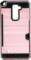 LG Stylo 2 PLUS  Slim Dura Case Metal Finish With Card Holder Rose Gold
