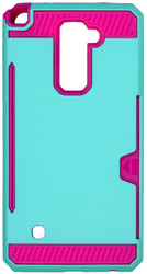 LG Stylo 2 PLUS  Slim Dura Case Metal Finish With Card Holder Teal&Pink