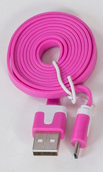 Micro Flat USB Cable Hot Pink