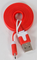 Micro Flat USB Cable Hot Red