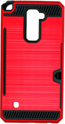 LG Stylo 2 PLUS  Slim Dura Case Metal Finish With Card Holder Red