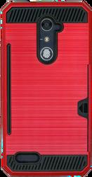 ZTE ZMax Pro MM Slim Dura Case Metal Finish With Card Holder Red