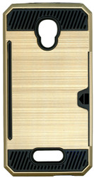 Alcatel Fierce 4 MM Slim Dura Case Metal Finish With Card Holder Gold