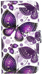 Samsung Galaxy ON5 MM 3D Design Wallet Purple Butterflies