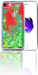 Iphone 7/8 MM Electroplated Glitter Case With Hearts Green&Silver