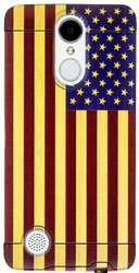 LG Aristo MM Slim Dura Metal American Flag On Wood