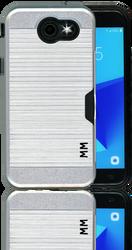 Samsung J3 Emerge MM Slim Dura Case Metal Finish With Card Holder Silver