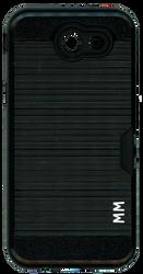 Samsung J3 Emerge MM Slim Dura Case Metal Finish With Card Holder Black