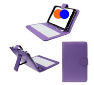 7 inch Universal Leather Case with Micro USB Keyboard For Tablet PC  Purple