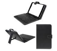 7 inch Universal Leather Case with Micro USB Keyboard For Tablet PC  Black