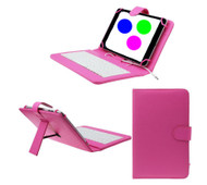 7 inch Universal Leather Case with Micro USB Keyboard For Tablet PC  Pink