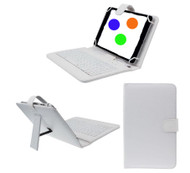 7 inch Universal Leather Case with Micro USB Keyboard For Tablet PC  White