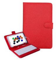 7 inch Universal Leather Case with Micro USB Keyboard For Tablet PC  Red