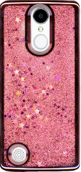 LG Aristo MM Electroplated Glitter Case With Stars Rose Gold