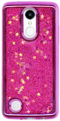 LG Aristo MM Electroplated Glitter Case With Stars Hot Pink