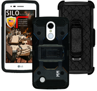 LG Aristo MM Silo Rugged Case Black(Full Covered Tempered Glass Included)