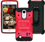 LG Aristo MM Silo Rugged Case Red(Full Covered Tempered Glass Included)