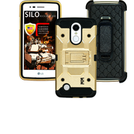 LG Aristo MM Silo Rugged Case Gold(Full Covered Tempered Glass Included)