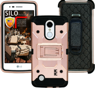 LG Aristo MM Silo Rugged Case Rose Gold(Full Covered Tempered Glass Included)