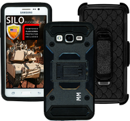 Samsung Glaxy ON5 MM Silo Rugged Case Black(Tempered Glass Included)