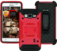 Samsung Glaxy ON5 MM Silo Rugged Case Red(Tempered Glass Included)