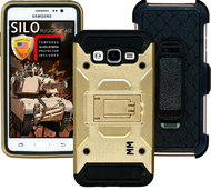 Samsung Glaxy ON5 MM Silo Rugged Case Gold(Tempered Glass Included)
